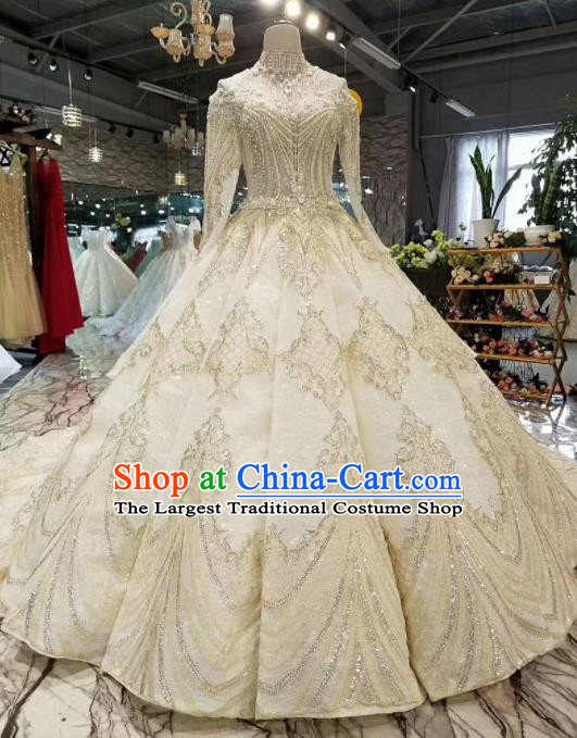 Customize Handmade Princess Fantasy Embroidered Beads Full Dress Wedding Court Bride Costume for Women