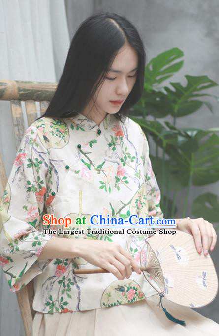 Chinese Traditional National Costume Tang Suit Slant Opening Blouse Upper Outer Garment for Women