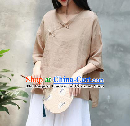 Chinese Traditional National Costume Tang Suit Slant Opening Khaki Blouse Upper Outer Garment for Women
