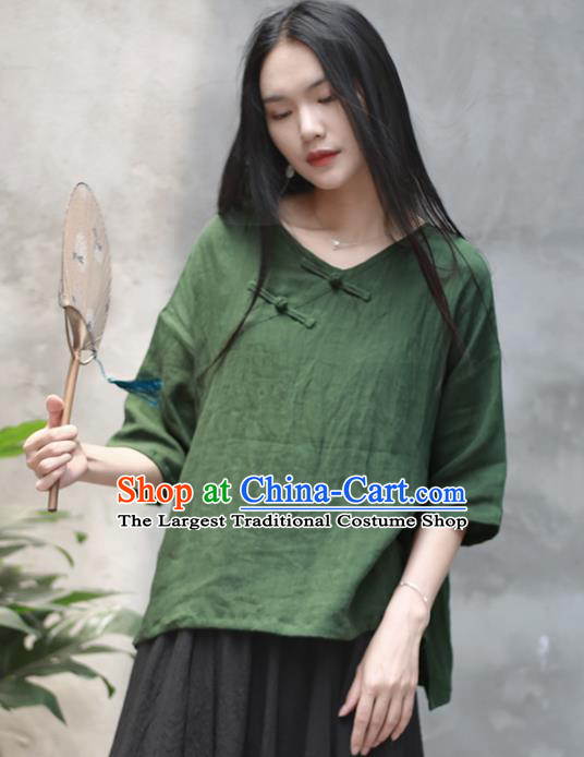 Chinese Traditional National Costume Tang Suit Slant Opening Green Blouse Upper Outer Garment for Women