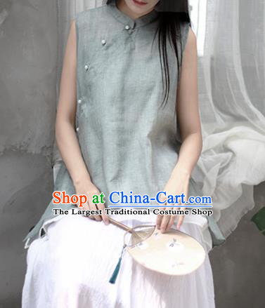 Chinese Traditional National Costume Tang Suit Slant Opening Blue Vest Upper Outer Garment for Women