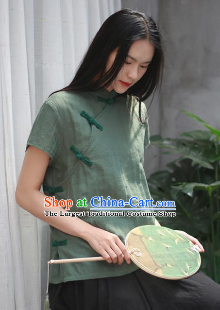 Chinese Traditional National Costume Tang Suit Slant Opening Green Linen Shirt Upper Outer Garment for Women