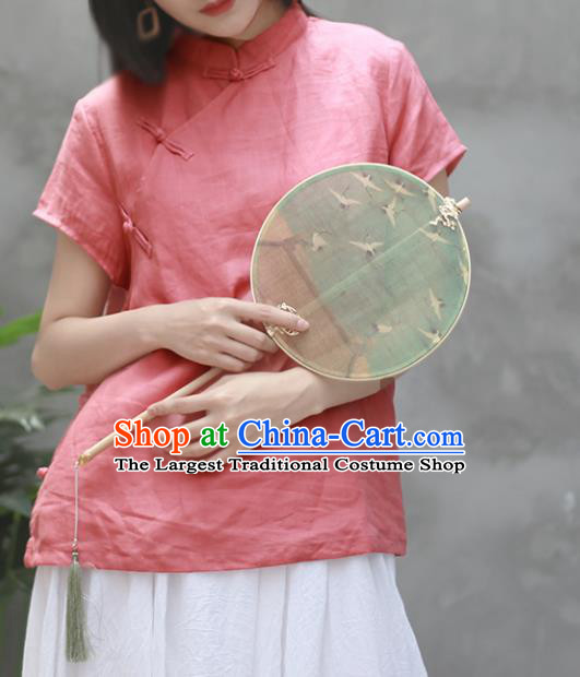 Chinese Traditional National Costume Tang Suit Slant Opening Pink Linen Shirt Upper Outer Garment for Women
