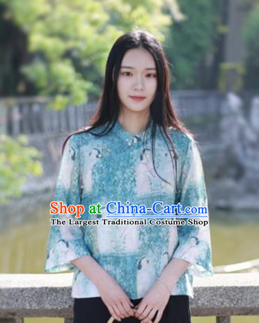 Chinese Traditional National Costume Printing Green Shirt Tang Suit Upper Outer Garment for Women