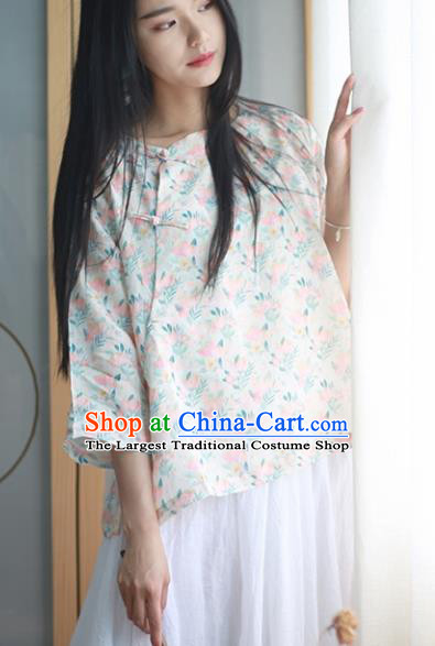 Chinese Traditional National Costume Printing Blouse Tang Suit Upper Outer Garment for Women