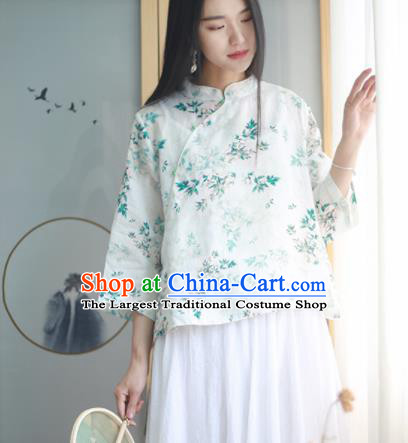 Chinese Traditional National Costume Printing Slant Opening Blouse Tang Suit Upper Outer Garment for Women
