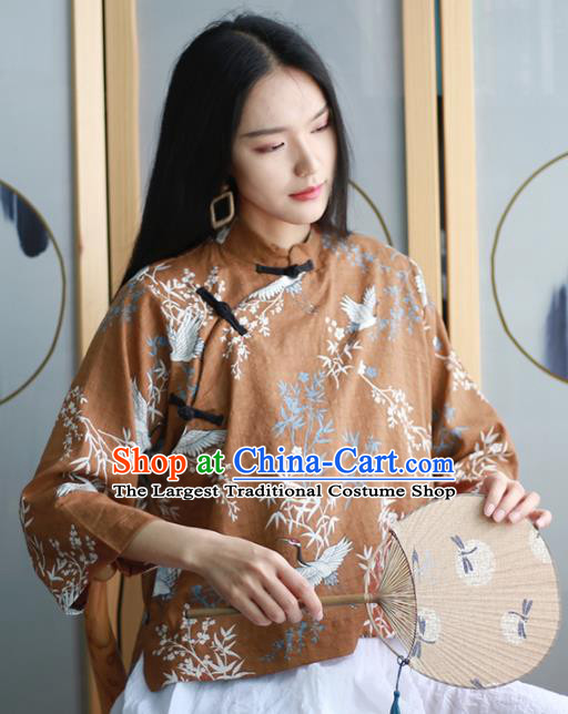 Chinese Traditional National Costume Printing Brown Blouse Tang Suit Upper Outer Garment for Women