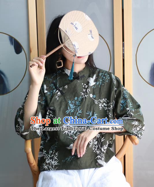 Chinese Traditional National Costume Printing Crane Black Blouse Tang Suit Upper Outer Garment for Women