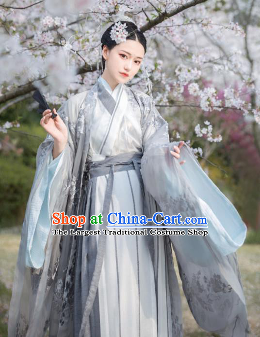 Asian Chinese Jin Dynasty Female Swordsman Historical Costume Ancient Court Princess Traditional Hanfu Dress for Women