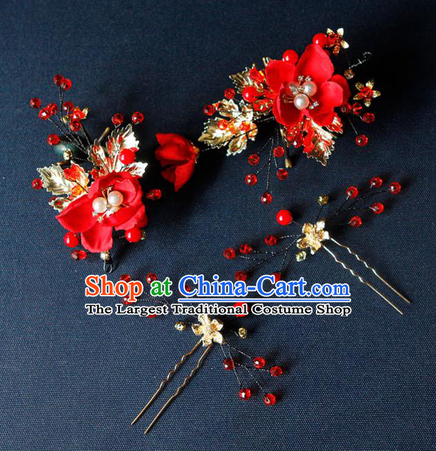 China Ancient Princess Red Flower Hair Claw Hairpins Chinese Traditional Hanfu Hair Accessories for Women