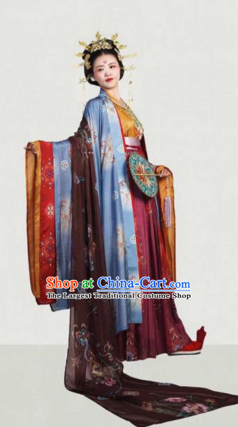 Traditional Chinese Tang Dynasty Queen Embroidered Hanfu Dress Ancient Drama Court Empress Historical Costume for Women