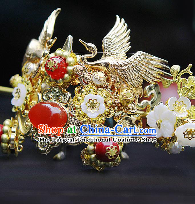 China Ancient Swordsman Red Bead Cranes Hairdo Crown Hairpins Chinese Traditional Hanfu Hair Accessories for Men