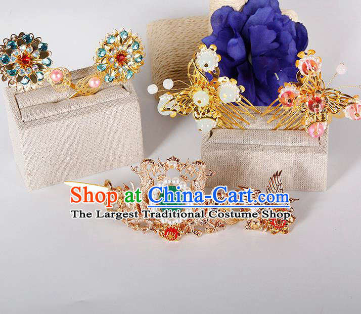 China Ancient Princess Hairpins Chinese Traditional Hanfu Tang Dynasty Hair Comb Hair Accessories for Women