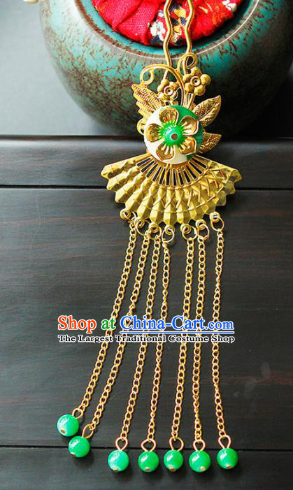 China Ancient Princess Golden Tassel Hairpins Chinese Traditional Hanfu Hair Clip Hair Accessories for Women