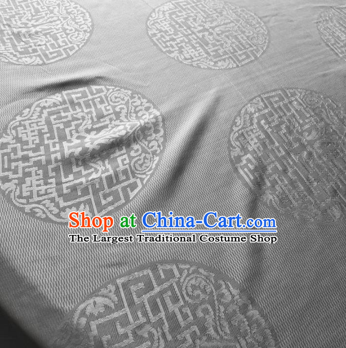 Asian Chinese Traditional Lucky Pattern Design Grey Brocade Fabric Silk Fabric Chinese Fabric Asian Material
