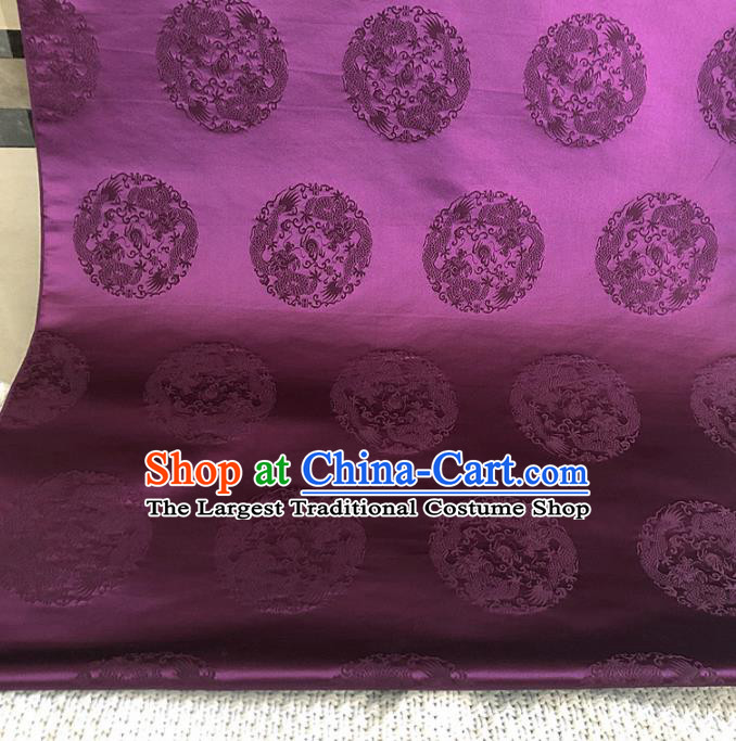 Asian Chinese Traditional Round Dragons Pattern Design Purple Brocade Fabric Silk Fabric Chinese Fabric Asian Material