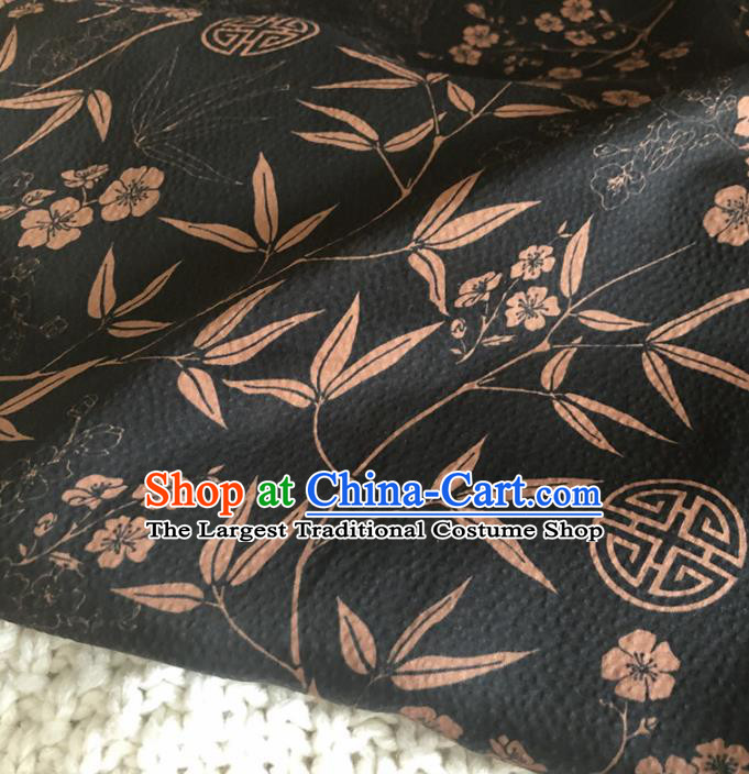 Asian Chinese Traditional Plum Bamboo Pattern Design Black Brocade Fabric Silk Fabric Chinese Fabric Asian Material