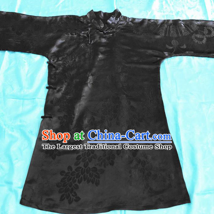 Chinese Traditional Handmade Black Silk Robe Jacket National Costume Upper Outer Garment for Women