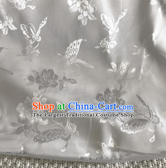 Asian Chinese Traditional Butterfly Peony Pattern Design Grey Brocade Fabric Silk Fabric Chinese Fabric Asian Material