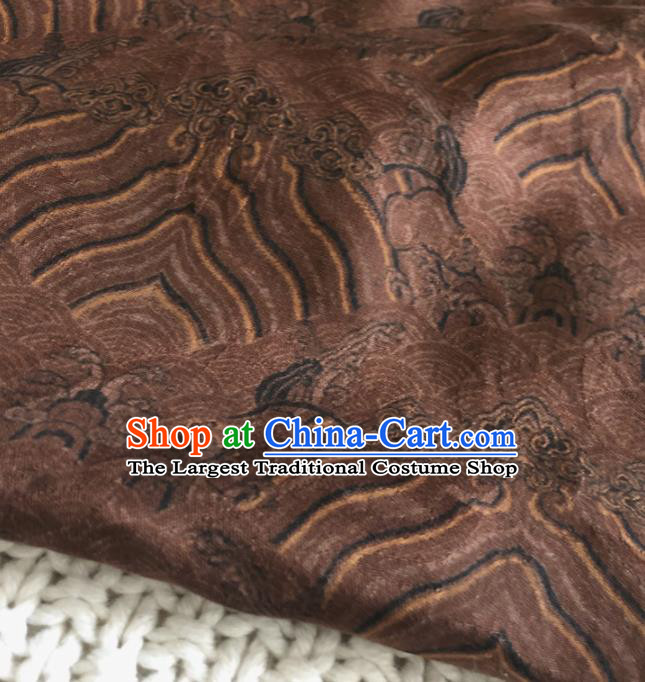 Asian Chinese Traditional Waves Pattern Design Brown Brocade Fabric Silk Fabric Chinese Fabric Asian Material