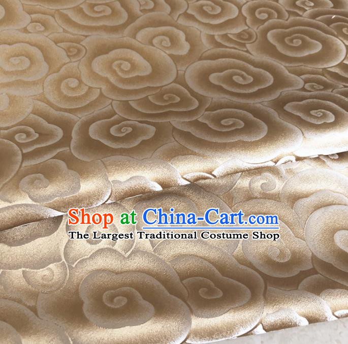 Asian Chinese Traditional Auspicious Clouds Pattern Design Golden Brocade Fabric Silk Fabric Chinese Fabric Asian Material