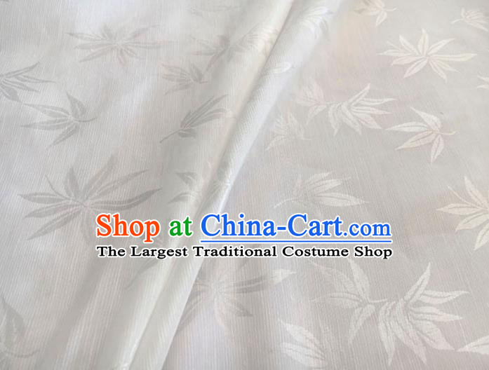 Asian Chinese Traditional Bamboo Leaf Pattern Design White Brocade Fabric Silk Fabric Chinese Fabric Asian Material