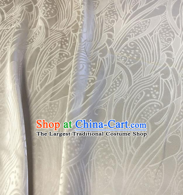 Asian Chinese Traditional Feather Pattern Design White Brocade Fabric Silk Fabric Chinese Fabric Asian Material