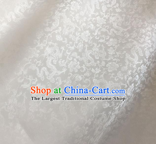 Asian Chinese Traditional Dragons Peony Pattern Design White Brocade Fabric Silk Fabric Chinese Fabric Asian Material