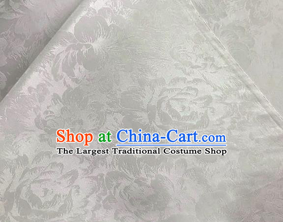 Asian Chinese Traditional Peony Pattern Design White Brocade Fabric Silk Fabric Chinese Fabric Asian Material