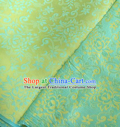 Asian Chinese Traditional Bauhinia Pattern Design Light Green Brocade Fabric Silk Fabric Chinese Fabric Asian Material