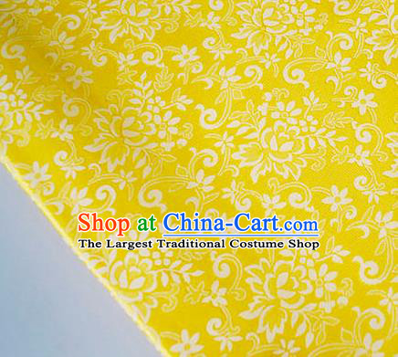 Asian Chinese Traditional Bauhinia Pattern Design Yellow Brocade Fabric Silk Fabric Chinese Fabric Asian Material