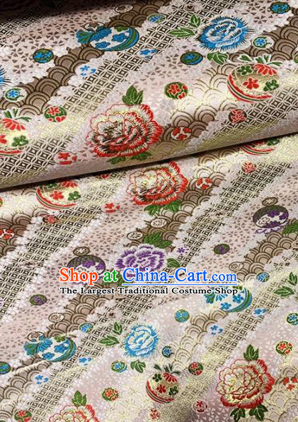 Asian Chinese Traditional Peony Pattern Design White Nanjing Brocade Fabric Silk Fabric Chinese Fabric Asian Material