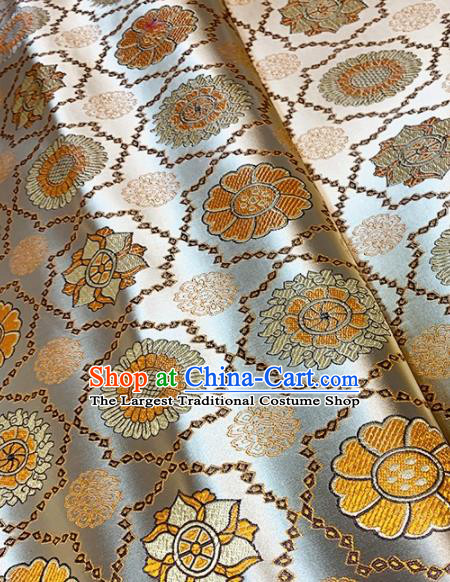Asian Chinese Traditional Sunflowers Pattern Design White Brocade Fabric Silk Fabric Chinese Fabric Asian Material