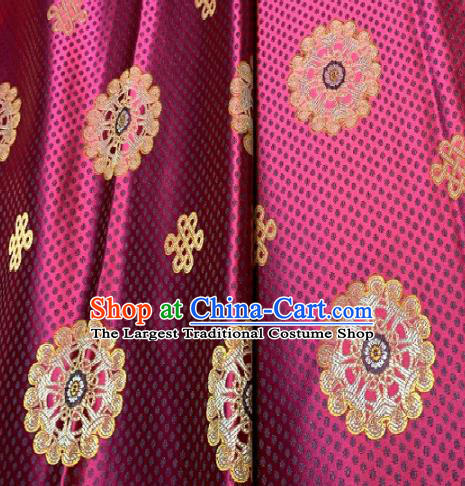 Asian Chinese Traditional Round Pattern Design Purple Brocade Fabric Silk Fabric Chinese Fabric Asian Material