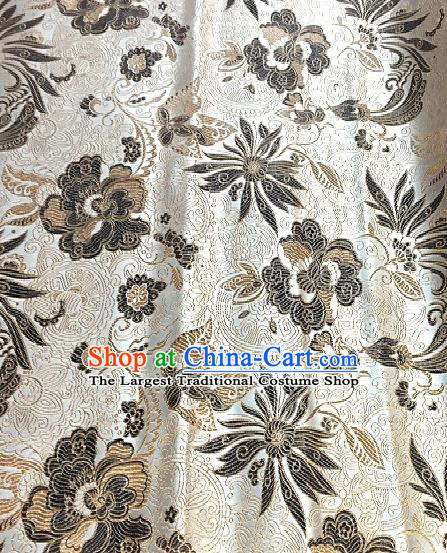 Asian Chinese Traditional Lotus Peony Pattern Design Beige Brocade Fabric Silk Fabric Chinese Fabric Asian Material