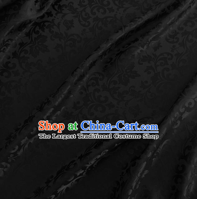 Asian Chinese Traditional Grape Vine Pattern Design Black Brocade Fabric Silk Fabric Chinese Fabric Asian Material