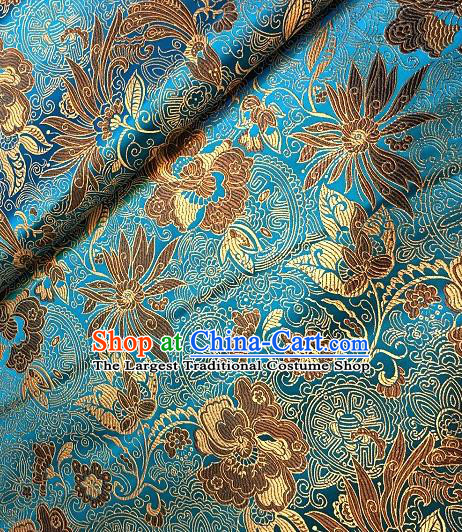 Asian Chinese Traditional Lotus Peony Pattern Design Blue Brocade Fabric Silk Fabric Chinese Fabric Asian Material