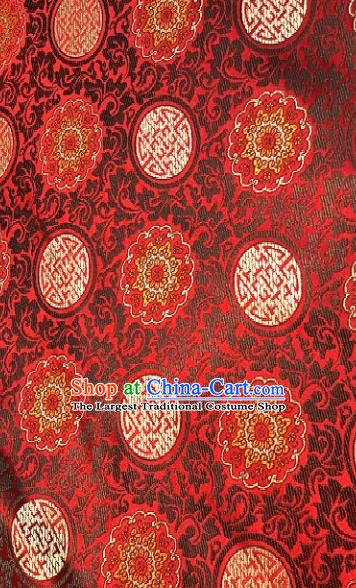 Asian Chinese Traditional Auspicious Pattern Design Red Brocade Fabric Silk Fabric Chinese Fabric Asian Material