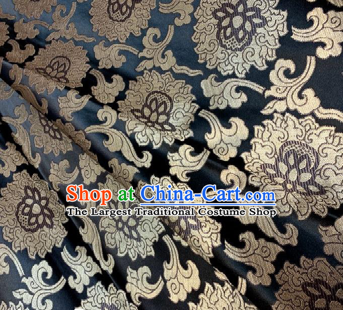 Asian Chinese Traditional Buddhism Lotus Pattern Design Black Brocade Fabric Silk Fabric Chinese Fabric Asian Material