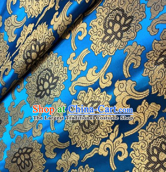 Asian Chinese Traditional Buddhism Lotus Pattern Design Blue Brocade Fabric Silk Fabric Chinese Fabric Asian Material