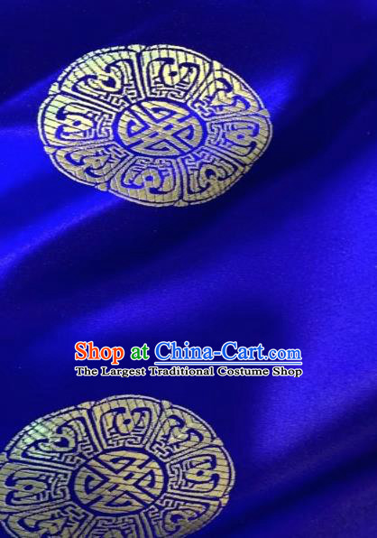 Asian Chinese Traditional Pattern Design Tibetan Robe Royalblue Brocade Fabric Silk Fabric Chinese Fabric Asian Material