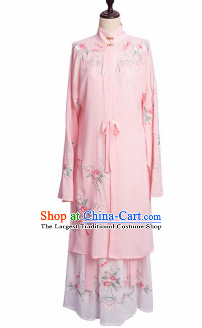 Traditional Chinese Ming Dynasty Young Lady Pink Hanfu Dress Ancient Princess Historical Costume for Women