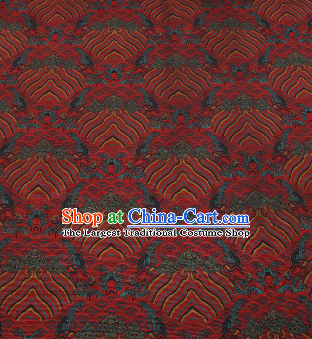 Chinese Traditional Sea Waves Pattern Design Red Satin Watered Gauze Brocade Fabric Asian Silk Fabric Material