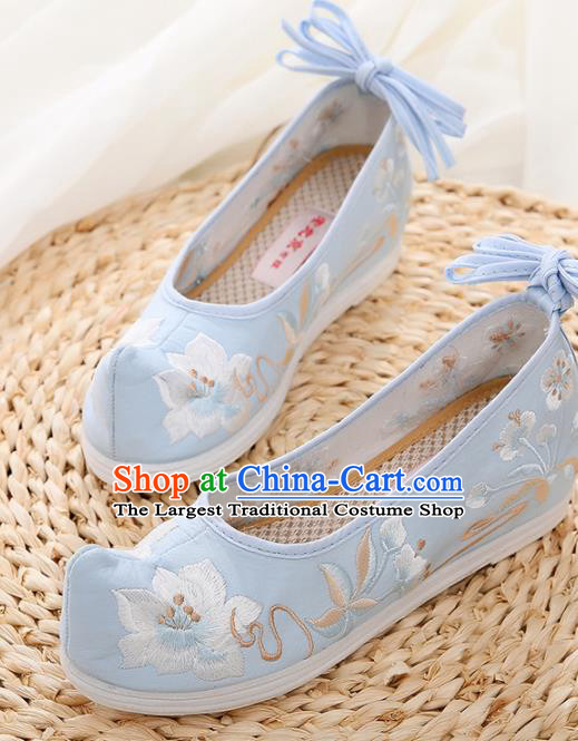 Chinese Traditional Hanfu Shoes Ancient Princess Embroidered Peach Blossom Blue Shoes National Cloth Shoes for Women