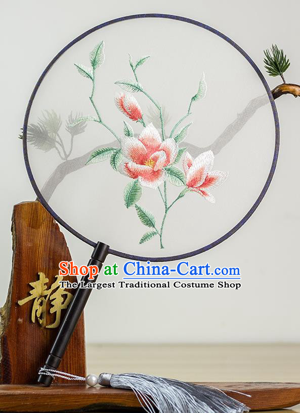 Chinese Traditional Hanfu Embroidered Palace Fans Ancient Princess Dance Silk Round Fan for Women