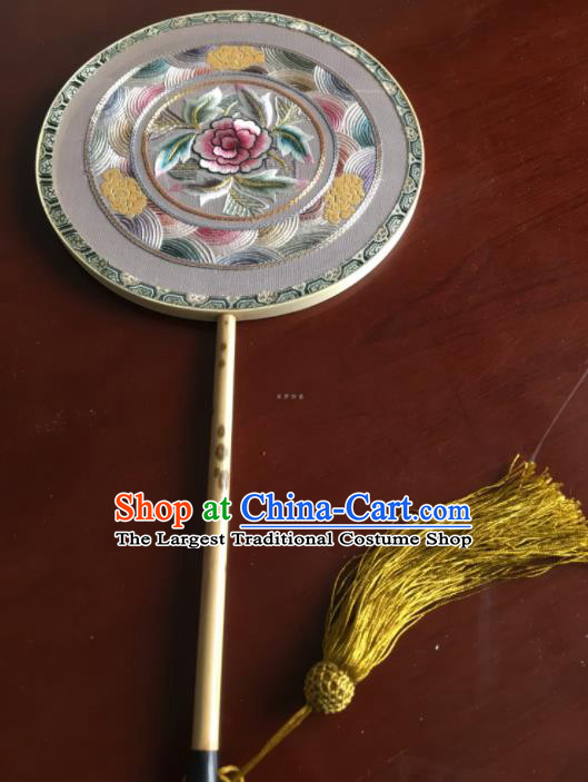 Chinese Traditional Hanfu Embroidered Silk Palace Fans Ancient Princess Dance Round Fan for Women