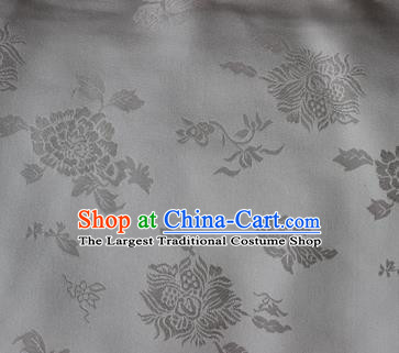 Chinese Traditional Peony Pattern Design White Brocade Fabric Asian Silk Fabric Chinese Fabric Material