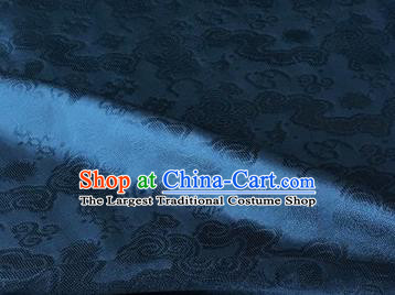 Chinese Traditional Clouds Pattern Design Navy Brocade Fabric Asian Silk Fabric Chinese Fabric Material
