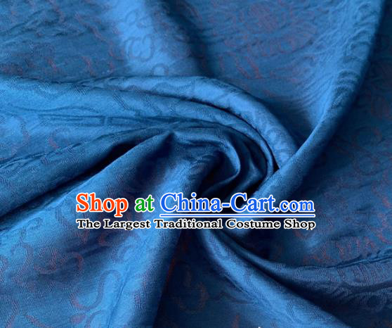Chinese Traditional Treasure Pattern Design Blue Brocade Fabric Asian Silk Fabric Chinese Fabric Material