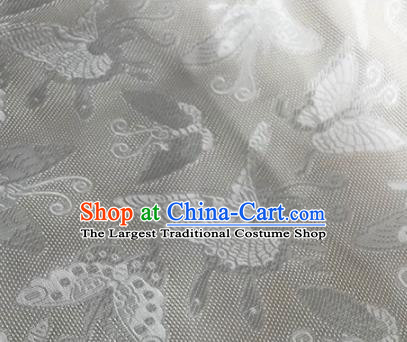 Chinese Traditional Butterfly Pattern Design White Brocade Fabric Asian Silk Fabric Chinese Fabric Material